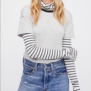 Free People Piper Twofer Long Sleeve Tee NWT!